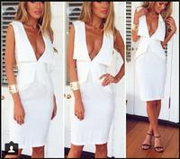 Free shipping 2014 New Fashion Casual V-shaped Lapel Flouncing Knee-length Tight Dress
