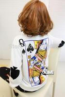 New Women's Sweatshirt Poker Pattern Print Fleece Fleece Color Matching Long Sleeves Round Neck