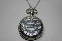 Movie Jewelry Necklace, silver Necklace Superman pocket watch, Vintage watches
