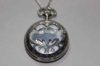 Free shipping wholesale silver Titanium steel Batman Pocket Watch Necklace mens jewelry