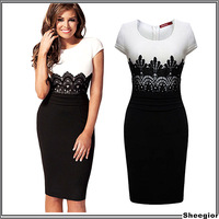 2014 New Fashion Womens Empire Vintage Crochet Lace Square neck Bodycon Fitted Shift Party Pencil Dress