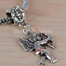 80pcs Antique Silver Tone Beads european Charms fit European Charm Bracelets 3d Mini Cupid Charm Pendants