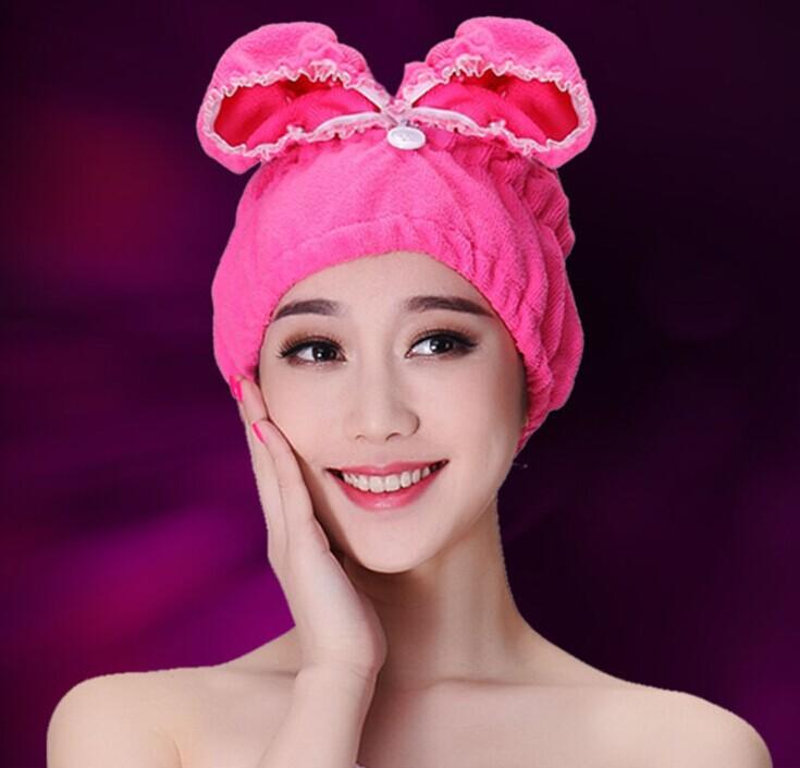 High Quality Microfiber fashion towel women bath towel Hair Drying Towel cap towels bathroom(China (Mainland))