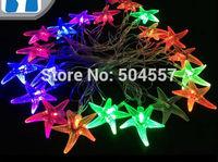 Free shipping 110-220V Led String starfish shape Christmas Lights 4m/20leds RGB light for Holiday/Party/Decoration