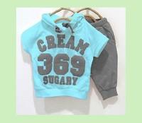 Retail girls boys clothing sets Baby cream 369 Short sleeve Hoodies+Pants Sport suits 2pcs kids Set Childrens clothes ship fast
