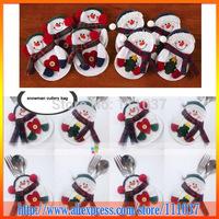 New Little Snowman Christmas Silverware Holder Pockets 8pcs/Lot Free Shipping