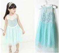 New Frozen Princess Elsa Sparkly Girls Lace Dress Fashion Summer Sleeveless Fantasia Baby Kids Children Cosplay Costume Dress