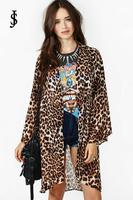 2014 The new Slim long leopard print shawl cardigan coat ,WJ0420
