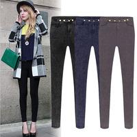 2014 winter new leg of European and American fashion women soild feet elastic waist pencil pants casual pants snow M-2XL