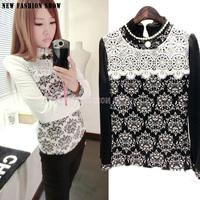 NEW Elegant Organza Print Flower Long Sleeve O-Neck Autumn Winter T Shirt 2014 Fashion Loose Shirts For Women Tops 2002