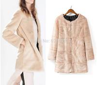 2014 New Autumn Winter Women's ZA Hairy Shaggy Faux Fur Round Neck Long Sleeve Jackets Long Coats Outerwear
