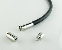 Push Clasp Platinum Silver Color Leather Rope End Necklace Bracelet Twist Clasp 3/4/5/6mm