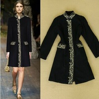 2014 autumn and winter Major suit Retro Slim long coat royal family Gold thread embroidery woolen coats