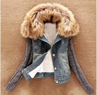Autumn short denim jacket women winter slim yarn large fur collar lamb cotton denim outerwear jeans Coats