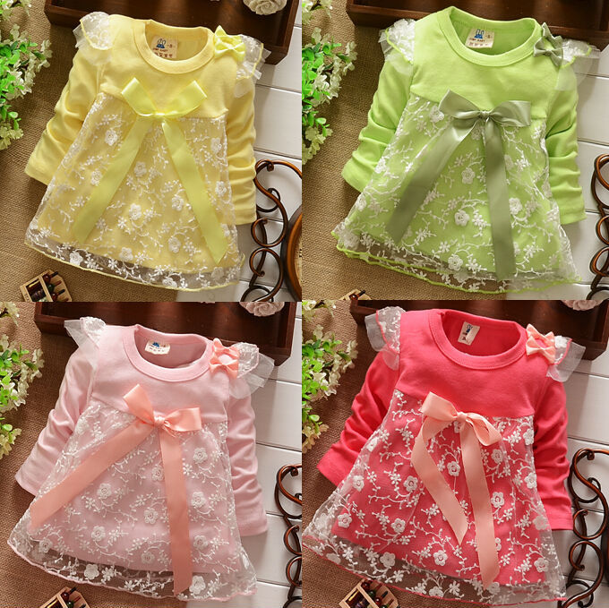 2014 Spring Autumn New Fashion Lace Baby Girls Cotton Dress Big Bow Infants Nice Floral Dresses free shipping(China (Mainland))