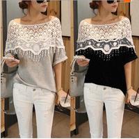 free shipping 2014 autumn  formal vintage fluid half-sleeve shirt o-neck loose top women blouse camisa black grey color LJ059LMX