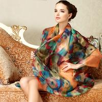 Fl silk scarf mulberry silk long scarf beach design super large cape scarf sunscreen female