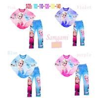 kids cartoon Frozen clothing suits girls Frozen Bat shirt+legging set children's lovely princess fashion clothing suits
