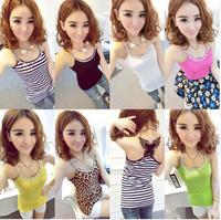 8 colors ! women & girl Fshion Tank Tops/lace Bow ribbon blusas femininas leopard Print diamond neck tshirt tank top halter sexy