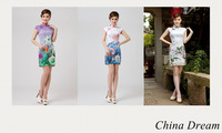 Free Shipping 2014 Short Sleeve White Cotton Blend Chinese Air Style Flowers Floral Printed Cheongsam Dress Vestidos 3 style