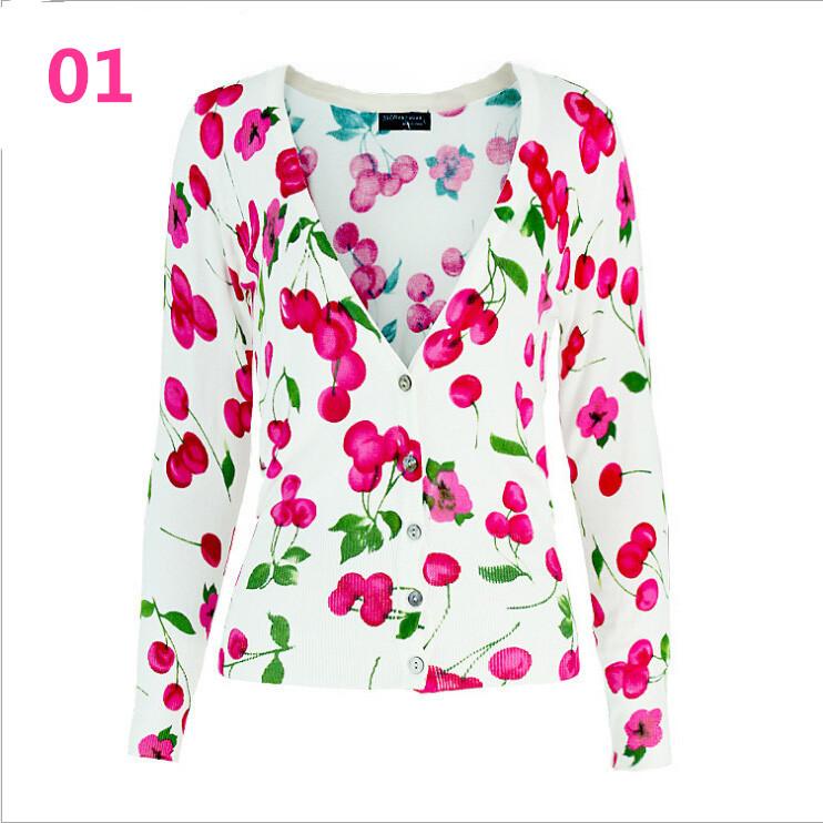 [ANNY]Hot Sale 2014 New Women Korean Fashion Printing Cherry V-neck Knit Cardigan Sweater Women woolen knitted sweater women(China (Mainland))