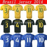 NEYMAR JR jersy thai quality DANI ALVES shirt yellow  TSILVA t shirt soccer  DAVID LUIZ 4  OSCAR 2014