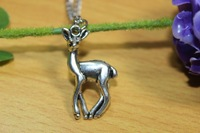 fashion new design alloy necklace,fashion alloy silver plated deer pendent necklace