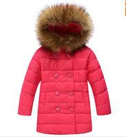 new 2014 winter children girls kids medium-long thickening hooded down jackets fashion large fur collar parkas coats outerwear