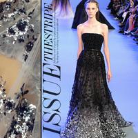 Heavy sequins net three-dimensional embroidery fabric flowers wedding dress custom fabrics