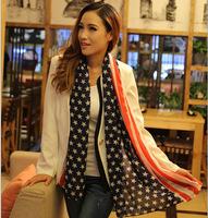 Free Shipping American flag Soft Scarves Muffler Promotional Discounts Chiffon Velvet Geometric and Elegant Women Print Scarf