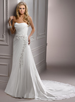 Charming designer latest white chiffon noiva wedding gowns A3609