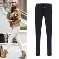 2014 new European and American fashion lady soild leg elastic waist pencil pants casual pants bottoming S-2XL