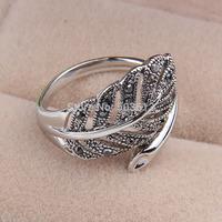 No min order one piece Vintage cutout leaf fashion female 17/18/19 metal finger ring xydr195