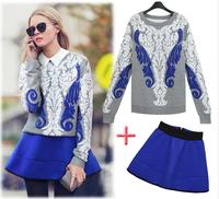 E-Unique New 2014 Autumn And Winter Plus Size Female Sweater Pullover Fashion Short Half-Length Skirt Set Female WWB15