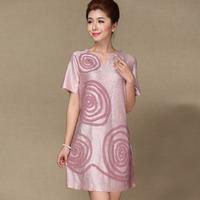 Mother clothing medium-long one-piece dress summer middle-age women one-piece dress elegant short-sleeve silk quinquagenarian