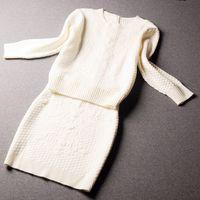 E-Unique 2014 Set Autumn Sweater One-Piece Twinset Small Ol Elegant Women Knitted Skirt Set WWB10