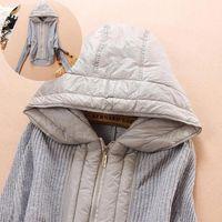 2014 winter women's sweater jacket short style patchwork down hooded coat long sleeve ladies sweater coat cardigans