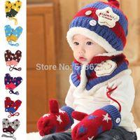 Free Shipping 2014 Popular New winter inside velvet pentagram baseball thick gloves for children warm winter boy girl gloves