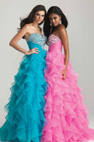 New Sexy Sweetheart  A-line Prom Party Formal Dress Organza Custom Evening GOWNS