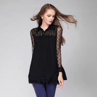 Europe station Hitz plus size women's 2014 lace shirt blouse long section openwork crochet shirt L-4XL