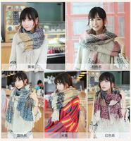 Universal soft fluffy female thin models retro plaid wool scarf knitted art  JZ101504