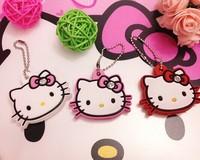 Kawaii Hello Kitty Rubber Cover KEY Cover Chain Holder Keychain Pendant Hook ; Cap Case Key Coat Wrap Coat Cover