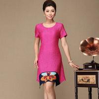 2013 quinquagenarian women's summer short-sleeve o-neck irregular sweep elegant mother clothing silk one-piece dress