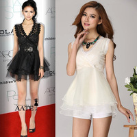D69*Stars Style Women Paillette Sexy V-neck Sleeveless Lace Dress Party Evening Queen Muli-layers Mesh Ball Gown One-piece Dress