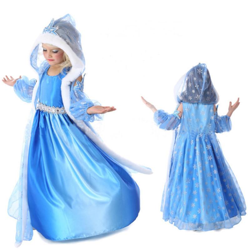Retail 2014 new arrive frozen dress, long sleeve snowflake dress, princess dress, 100% cotton frozen dress + hat shawl(China (Mainland))