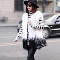 No long collar vest imitation fox fur vest vest and the wind color stitching fur vest in imitation fur