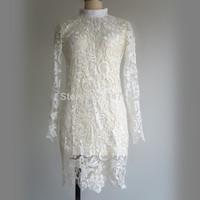 women new sexy pencil lace dresses long sleeve package hip sheath embroidered knee length mandarin collar autumn 2014 dress 4XL