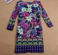 Sleeve Dress 2014 new winter fashion wild European and American minimalist printing bottoming dress  big yards