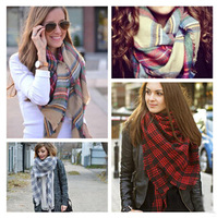 za 2014 double faced plaid soft winter 140*140cm  shawls 3 kinds color scarf double layer moben  plaid cape gift JZ101505