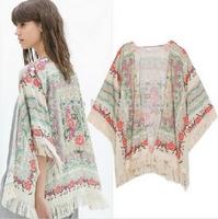 OME0119  New Summer Spring Design Women Elegant Vintage Floral Printed Kimono Brand Design Tassel Blouses Shirts Tops Cardigan
